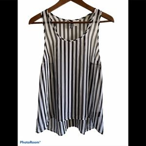 3/$30 Divided sheer black and white stripped tank